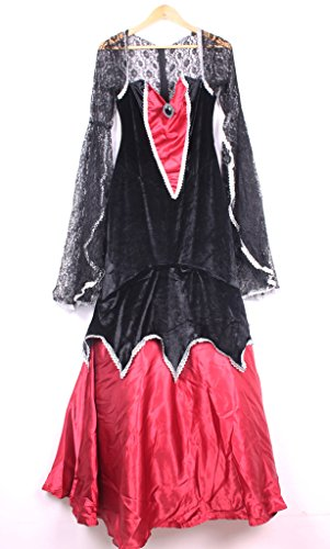 Happy Sailed Women's Deluxe V-Neck Lace Sleeve Vampire Costume