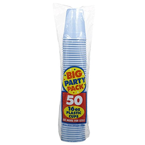 Amscan Big Party Pack 50 Count Plastic Cups, 16-Ounce, Pastel Blue