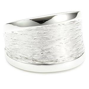 Vinani Damen-Ring glänzend Muster gebürstet Sterling Silber 925 Größe 60 (19.1 ) RMG60