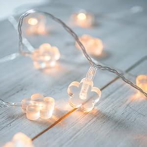 30er LED Lichterkette Blumen warmweiß batteriebetrieben