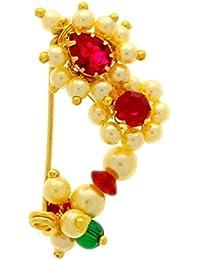 Anuradha Art Pink Colour Stylish Golden Tone Designer White Pearl Beads Maharashtrian Nath Nose Ring For Women/Girls