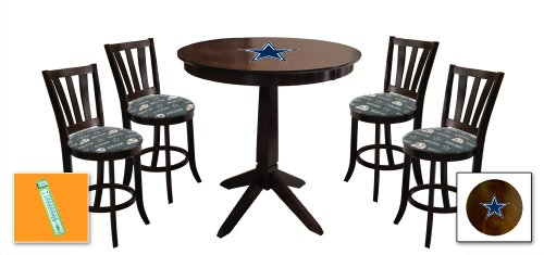 New 5 Piece Cappuccino / Espresso Bar Table Set with a Dallas Cowboys Theme and 4 Padded Seat Cushion Bar Stools! Also includes free indoor / outdoor thermometer! at Amazon.com