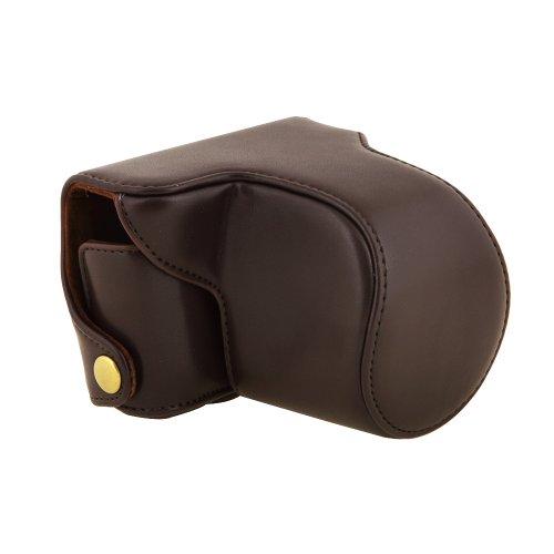 Nikon 1 (ニコンワン) J3用 デジタル一眼カメラケース 10-30mm/11~27.5 レンズ 収納可 PUレザーケース ショルダーベルト付 ﹙コーヒー﹚