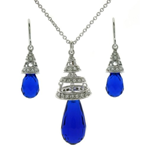 Necklace Earring Sterling Silver Swarovski Crystals Sapphire Blue September Birthstone Swirl Jewelry Set Gift Bucasi SALE