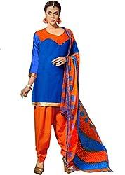 Suchi Fashion Blue & Orange Printed Crepe Dress Material
