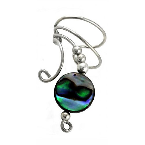Sterling Silver Left Only Paua Abalone Shell Round Button Bead Wave Ear Cuff Wrap