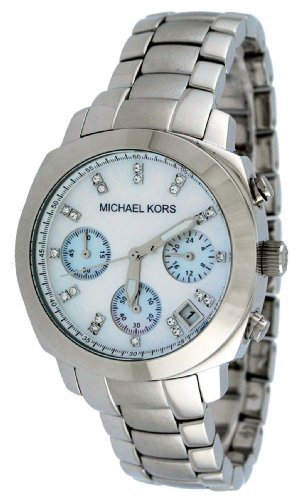 Michael Kors Watches Mother Of Pearl Silver Chrono With Stones (Silver)