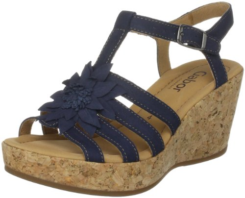 Gabor Women's Cornelia Blue Nubuk Wedges 42.844.36 6 UK