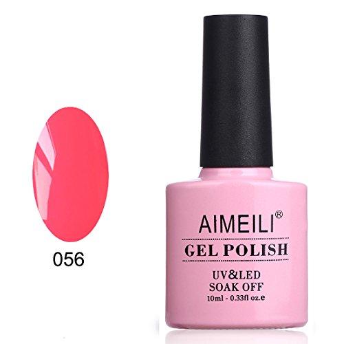 AIMEILI Soak Off UV LED Gel Nail Polish - Neon Peachy Pink (056) 10ml (Neon Gel Nail Polish compare prices)