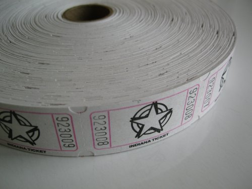 1 X 2000 White Star Single Roll Consecutively Numbered Raffle Tickets (White 50 50 Tickets compare prices)