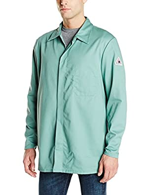 Bulwark Flame Resistant 9 oz Twill Cotton Excel FR Regular Work Coat with Top Stitched Collar, Visual Green, Large