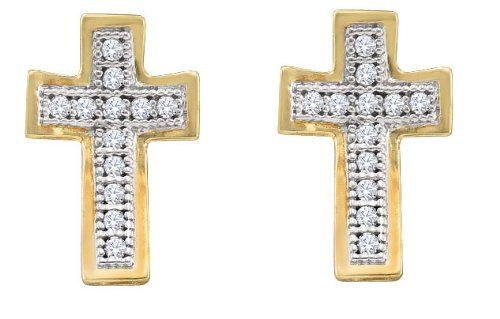 0.10ct-Dia Cross Earrings