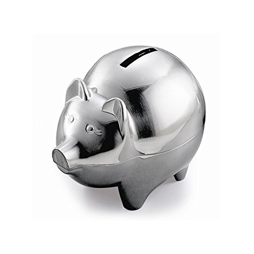 Classic Piggy Bank - Non Tarnish Brushed Pewter by Creative Gifts - 1