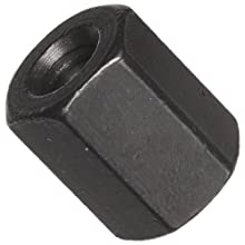 1117 Carbon Steel Coupling Nut, Black Oxide Finish, UNF 2B Threads, 1/4&#034;-20 Thread Size, Pack Of 5