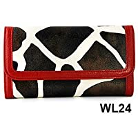 Red Giraffe Print Clutch Wallet with…