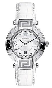 Versace 68Q99SD498 S001 - Reloj analógico de cuarzo unisex con correa de piel, color blanco