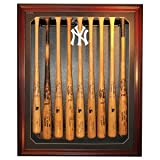 New York Yankees NY Logo Removable Face 9 Bat Display, Mahogany by Biggsports