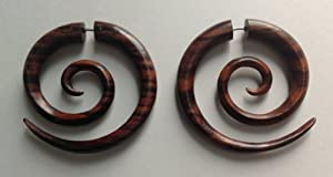 Spiral Earrings - Medium Spirals - Sono Wood - Organic - Eco Friendly - By Primal Distro