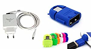 Signature High Speed charger kit (2.0Amp output)+Cute Little Fast Data transfer OTG Cable (with 1 year warranty)+Cute Little Fast Data transfer OTG Cable For HTC Desire V