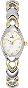 Women Watch Bulova 98V02 Dress Two Tone Stainless Steel Dress White Dial
