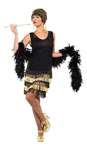 Smiffy's 20s Fringed Flapper Costume, Black/Gold, Medium