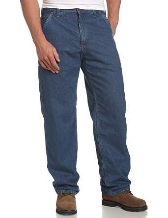 Carhartt Men's  Flannel Lined Washed Denim Work Dungaree Jean, Darkstone, 34 x 30