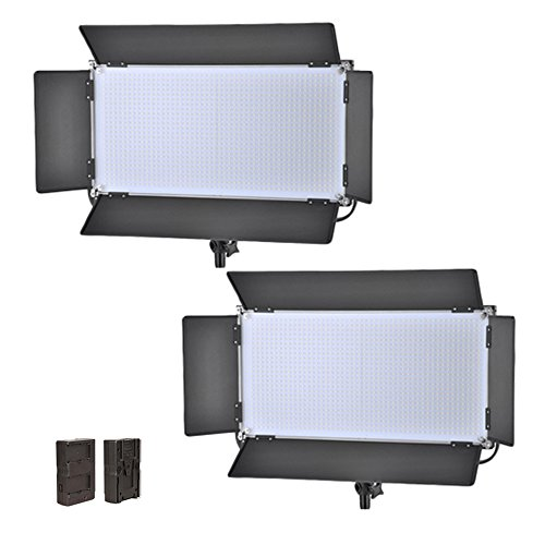 Iled 1260 Led Bi-Color Studio Panel 2-Light Kit With V-Mount Plate And Barndoors + Battery Converter Adapter