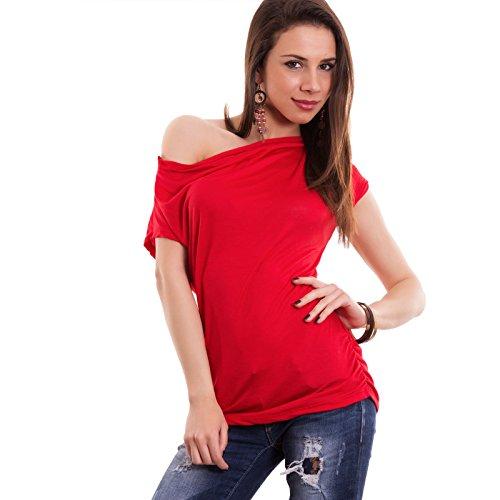 Toocool - Maglia donna maglietta maniche corte arricciatura asimmetrica nuova AS-26181[rosso,Taglia unica]