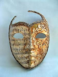 Si Lucia Masquerade Roman Face Cut Out Music/Gold Stucco Carnival Mask