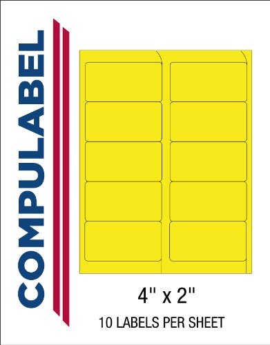 Compulabel Fluorescent Yellow Address Labels for Laser Printers, 4 x 2 Inch , Permanent Adhesive, 10 per Sheet, 100 Sheets per Carton