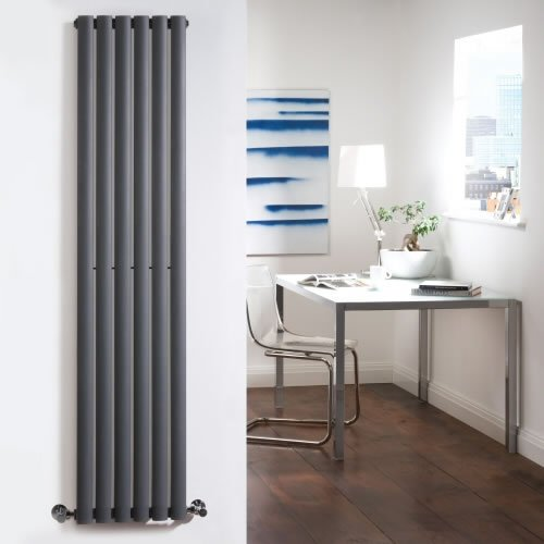Anthracite Designer Radiator - Curved Panels - Luxury Central Heating Vertical 'Oval' Columns - 1600mm x 354mm