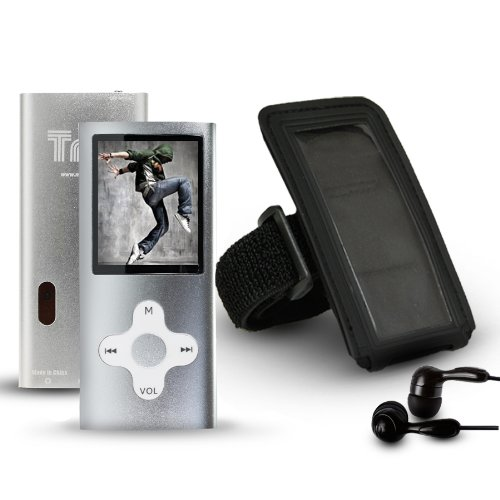 Trio V2 4GB MP3 Video Player with Camera Plus Armband and Noise Isolating Earbuds – SILVER