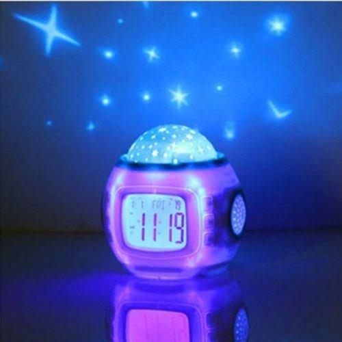Children Sleeping Sky Star Night Light Projector Lamp Bedroom Clock Alarm Music