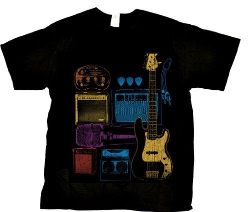Beach Graphic Pros Rock Band Tool Box Music, Guitar, Amps, Speakers, Microphone Liquid Blue Design Adult T-Shirt-Medium, Black