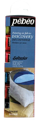 Pebeo Setacolor Opaque Fabric Paint Discovery Collection, 6 Assorted 20-Milliliter Colors and Accessories