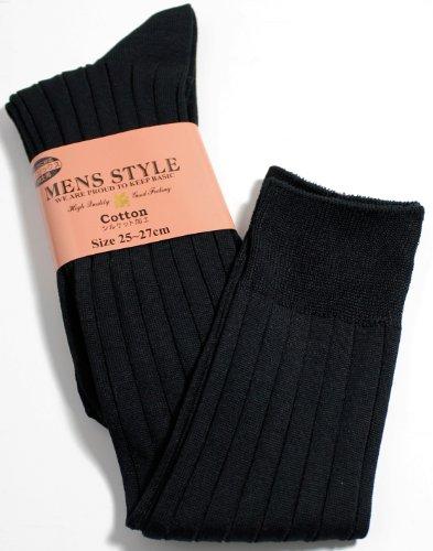 《洗練された大人の男テイスト》 紳士靴下 ハイソックス シルケット加工 リブ編み メンズソックス