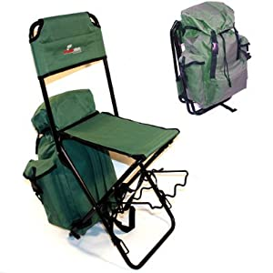 Rucksack Stool With Back Rest And Integral Rod Rests