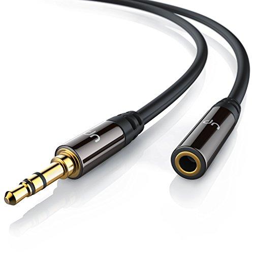 Uplink-5m-Audio-Klinken-Verlngerungskabel-fr-AUX-Eingnge-Voll-Metallstecker-passgenau-35mm-Stecker-auf-35mm-Buchse-HQ-Premium-Series