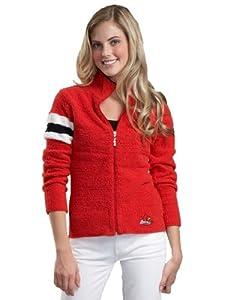 NCAA University of Louisville Kashwere U 3-Tone Motorcycle Jacket (Red/White, Small/0-2)