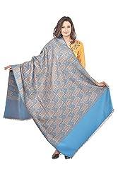 Weavers Villa - Womens Blue , Brown Woven Shawls ,Stoles
