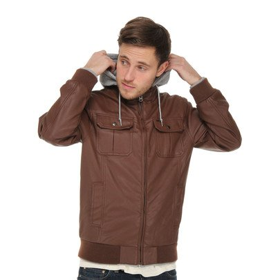 Obey Rapture Jacket Brown Grey Hooded Liner Men`s Bomber Jacket (M)