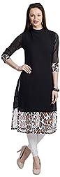 Chandigarh Fashion Mall Women's Georgette Regular Fit Kurta (Cfm.1021_M, Black, M)