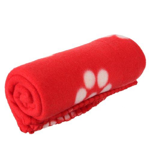 SODIAL (R) 60 * 70cm Hot Tappetino coperta da letto di pile morbido carino caldo accogliente con Zampa Stampa per cane animale domestico Gatto ( stampa Zampa bianca fondo rosso)