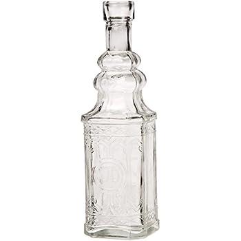 Luna Bazaar Small Vintage Glass Bottle Set (6.5-Inch, Square Design, Clear, Set of 12) - Flower Bud Vases Bulk - For Party and Wedding Centerpieces