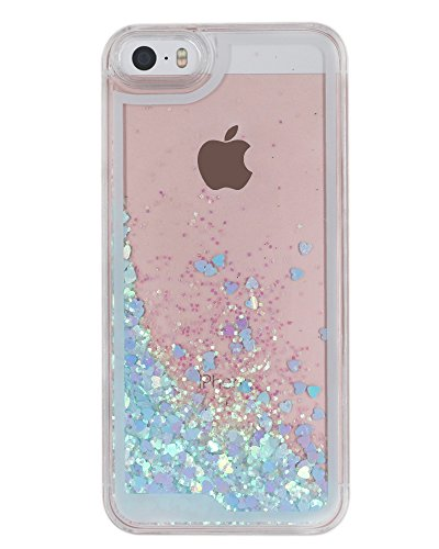 B'Q iPhone 5 Case,iPhone 5S Liquid Quicksand Bling Love Heart Case,Adorable flowing Floating Moving Bright Shine Glitter Love Heart Hard Case for iPhone5 5S - Bing Blue (Iphone5 Case Crystal compare prices)