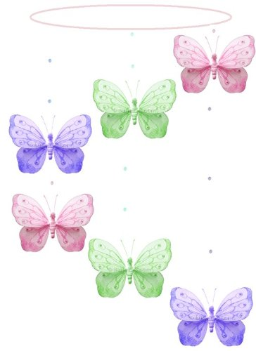 Pink Purple Green Shimmer Spiral Butterfly Mobile Decorations - butterflies nylon hanging ceiling wall baby nursery room wedding decor decoration decorations girls bedroom party shower