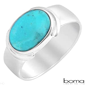 BOMA Elegant and Beautiful Ring With Genuine Turquoise Beautifully Designed in 925 Sterling silver Size 9