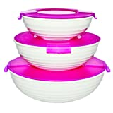 Oliveware Plastic Elegant Bowl, Set Of 3 Pieces, White & Pink