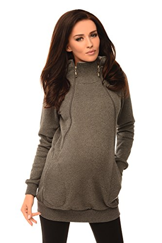 Purpless Maternity 2in1 Pregnancy and Discreet Nursing Hoodie with Zips 9052 (12, Dark Gray Melange)