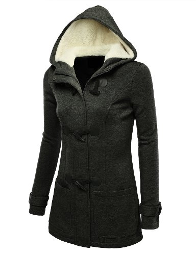 J.TOMSON Womens Toggle Hooded & Double Breasted Trench Coat CHARCOAL L